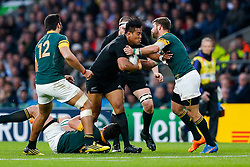 New Zealand Winger Julian Savea is tackled - Mandatory byline: Rogan Thomson/JMP - 07966 386802 - 24/10/2015 - RUGBY UNION - Twickenham Stadium - London, England - South Africa v Wales - Rugby World Cup 2015 Semi Finals.