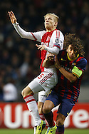 Onderwerp/Subject: Ajax - FC Barcelona - Champions League<br /> Reklame:  <br /> Club/Team/Country: <br /> Seizoen/Season: 2013/2014<br /> FOTO/PHOTO: Nicolai BOILESEN ( Nicolai Moller BOILESEN ) (L) of Ajax in duel with PUYOL ( Carles Puyol SAFORCADA ) (R) of FC Barcelona. (Photo by PICS UNITED)<br /> <br /> Trefwoorden/Keywords: <br /> #04 $94 &plusmn;1377840750319<br /> Photo- &amp; Copyrights &copy; PICS UNITED <br /> P.O. Box 7164 - 5605 BE  EINDHOVEN (THE NETHERLANDS) <br /> Phone +31 (0)40 296 28 00 <br /> Fax +31 (0) 40 248 47 43 <br /> http://www.pics-united.com <br /> e-mail : sales@pics-united.com (If you would like to raise any issues regarding any aspects of products / service of PICS UNITED) or <br /> e-mail : sales@pics-united.com   <br /> <br /> ATTENTIE: <br /> Publicatie ook bij aanbieding door derden is slechts toegestaan na verkregen toestemming van Pics United. <br /> VOLLEDIGE NAAMSVERMELDING IS VERPLICHT! (&copy; PICS UNITED/Naam Fotograaf, zie veld 4 van de bestandsinfo 'credits') <br /> ATTENTION:  <br /> &copy; Pics United. Reproduction/publication of this photo by any parties is only permitted after authorisation is sought and obtained from  PICS UNITED- THE NETHERLANDS