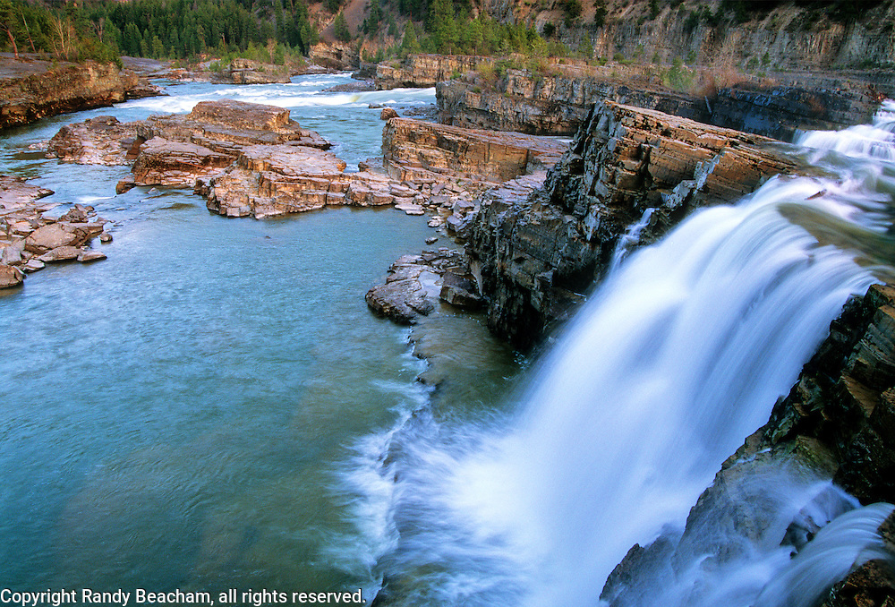 Kootenai Falls along the Kootenai River in summer. Near Troy, northwest Montana