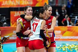 20-10-2018 JPN: Final World Championship Volleyball Women day 21, Yokohama<br /> Serbia - Italy 3-2 / Bianka Busa #1 of Serbia, Silvija Popovic #17 of Serbia, Tijana Malesevic #6 of Serbia