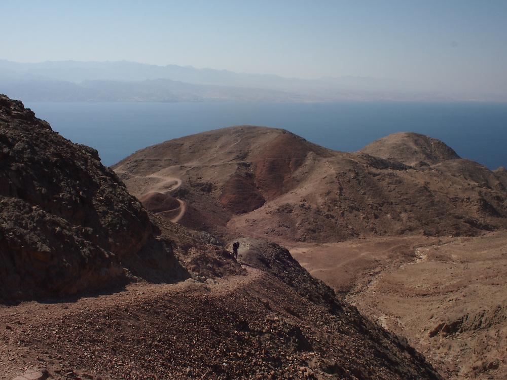Man hikes in the Sinai near Elat Israel.
