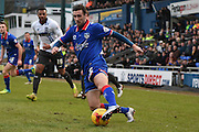 Oldham Athletic Defender, Danny Lafferty looks to break up the Bury defence during the Sky Bet League 1 match between Oldham Athletic and Bury at Boundary Park, Oldham, England on 23 January 2016. Photo by Mark Pollitt.