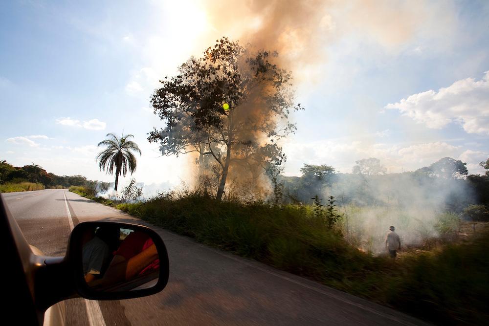 Luz_MG, Brasil...Queimada em vegetacao de Beira de Estrada em Luz, Minas Gerais...Burning vegetation in roadside in Luz, Minas Gerais...Foto: LEO DRUMOND / NITRO