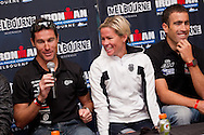Craig Alexander (AUS), Mirinda Carfrae (AUS) and . Official Pre-Race Press Conference. 2012 Ironman Melbourne. Asia-Pacific Championship. Hosted By USM Events. 22/03/2012. Photo By Lucas Wroe.