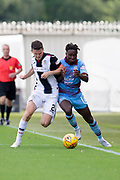 4th August 2018, Simple Digital Arena, Paisley, Scotland; Ladbrokes Premiership football, St Mirren versus Dundee; Paul McGinn of St Mirren battles for the ball with Dundee's Jean Alassane Mendy