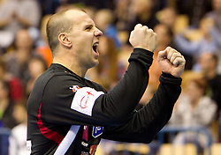 Gorazd Skof of Slovenia during handball match between National teams of Slovenia and Portugal in the Qualifications of the EHF EURO 2012, on October 27, 2010 at Arena Zlatorog, Celje, Slovenia. Slovenia defeated Portugal 34 - 31.(Photo By Vid Ponikvar / Sportida.com)