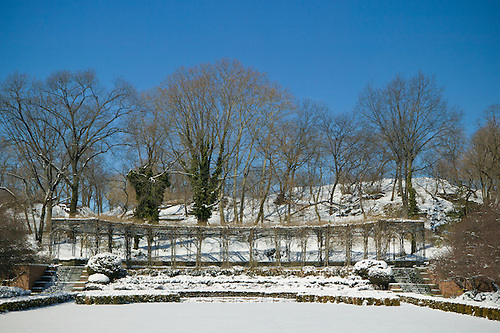 Snow Covered Italian Garden At The Central Park Conservatory.