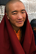 TIBET (China): Lhasa.A monk at the sacred Jokhang Temple.