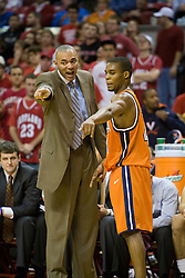 Virginia head coach Dave Leitao discusses a play with Virginia guard Sean Singletary (44).  The Maryland Terrapins defeated the Virginia Cavaliers men's basketball team 85-75 at the Comcast Arena in College Park, MD on January 30, 2008.