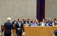 Nederland. Den Haag, 26 oktober 2010.<br /> De Tweede Kamer debatteert over de regeringsverklaring van het kabinet Rutte.<br /> D66 leider Pechtold heeft gesproken, PVV leider Geert Wilders gaat spreken<br /> Kabinet Rutte, regeringsverklaring, tweede kamer, politiek, democratie. regeerakkoord, gedoogsteun, minderheidskabinet, eerste kabinet Rutte, Rutte1, Rutte I, debat, parlement<br /> Foto Martijn Beekman