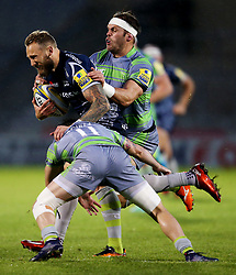 Byron McGuigan of Sale Sharks is tackled by Belisario Agulla of Newcastle Falcons  - Mandatory by-line: Matt McNulty/JMP - 08/09/2017 - RUGBY - AJ Bell Stadium - Sale, England - Sale Sharks v Newcastle Falcons - Aviva Premiership