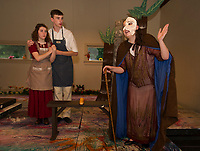 "The Baker's Wife and the Baker (Chelsea Sasserson and Chris Renaud) with the Witch (Hailey Kaliscik) during SKYT's dress rehearsal for the musical ""Into The Woods"" at the Gilford Methodist Church Monday evening.  (Karen Bobotas/for the Laconia Daily Sun)"