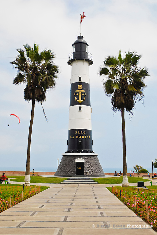 Faro La Marina Lighthouse in Miraflores, Lima, Peru