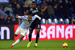 "Foto Filippo Rubin<br /> 01/12/2018 Ferrara (Italia)<br /> Sport Calcio<br /> Spal - Empoli - Campionato di calcio Serie A 2018/2019 - Stadio ""Paolo Mazza""<br /> Nella foto: LUIZ EVERTON (SPAL) VS HAMED JUNIOR TRAORE (EMPOLI)<br /> <br /> Photo Filippo Rubin<br /> December 01, 2018 Ferrara (Italy)<br /> Sport Soccer<br /> Spal vs Empoli - Italian Football Championship League A 2018/2019 - ""Paolo Mazza"" Stadium <br /> In the pic: LUIZ EVERTON (SPAL) VS HAMED JUNIOR TRAORE (EMPOLI)"