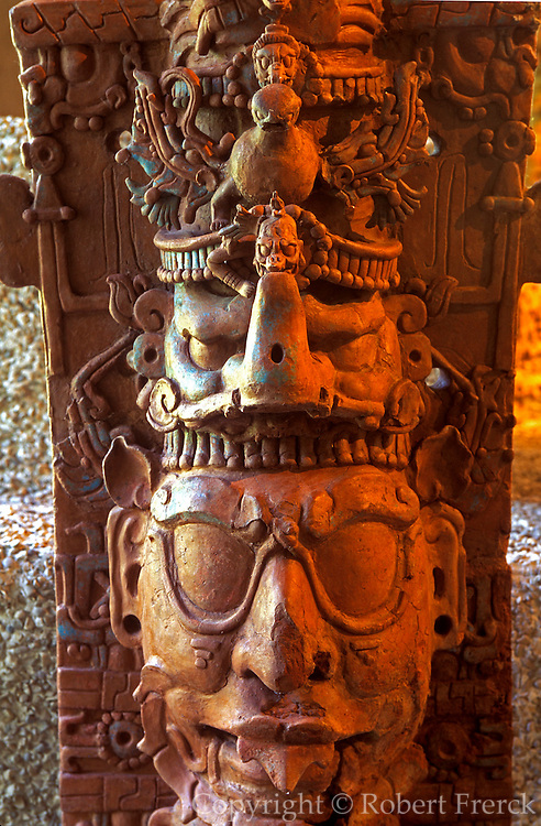 MEXICO, MAYAN CULTURE, CHIAPAS STATE Palenque, late classic, 600-900AD; Museum, Mayan ceramic censer stand with human, animal and bird forms