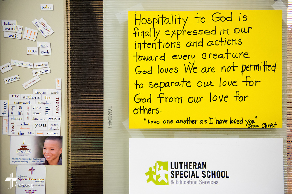 A handwritten note greets visitors at Lutheran Special School & Education Services, located in Milwaukee Lutheran High School, on Tuesday, May 19, 2015, in Milwaukee, Wis. LCMS Communications/Erik M. Lunsford