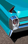 Image of a Cadillac Convertible tail fin detail in Costa Mesa, California, American west coast, property released