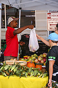 Shoppers buying fresh produce at the Farmers Market along Main Street in downtown Greenville, South Carolina.