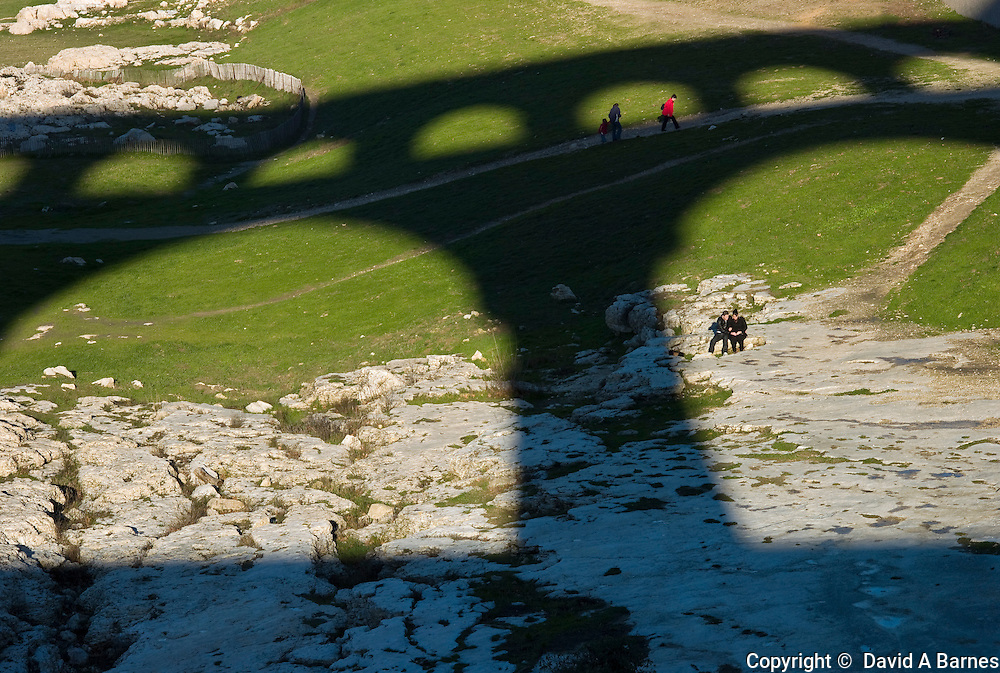 Cast shadow of Pont du Gard, Gard, Provence, France