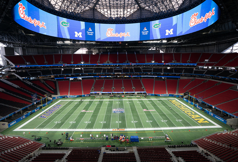 A general view of the Mercedes-Benz Stadium prior to the Chick-fil-A Peach Bowl, Saturday, December 29, 2018, in Atlanta. ( Paul Abell via Abell Images for Chick-fil-A Peach Bowl)