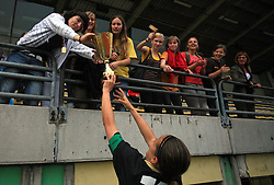 Captain of Krka and goalkeeper Jadranka Knezevic and fans after final game of NZS women football cup between ZNK Pomurje vs ZNK Krka, on June 4, 2008, at ZAK stadium in Ljubljana, Slovenia. Krka won the match 4:1 and became Slovenian Cup Champion. (Photo by Vid Ponikvar / Sportal Images)
