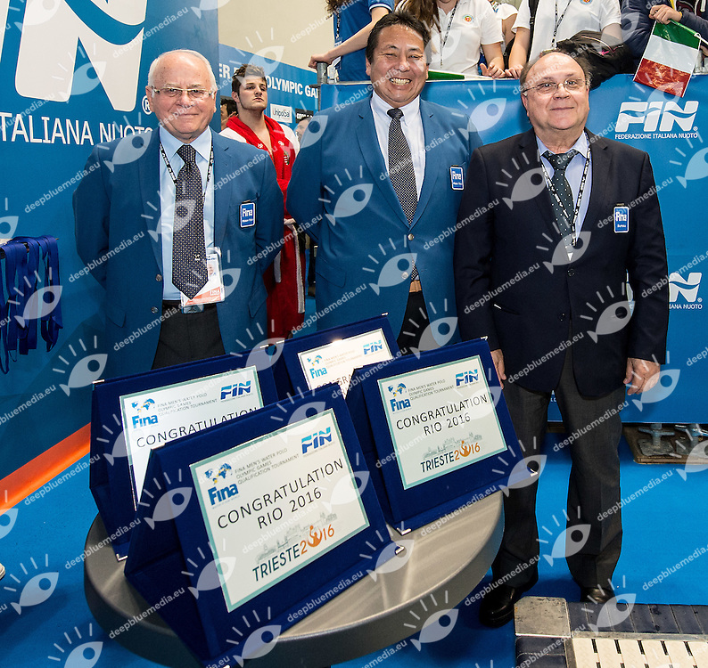 Fina delegates award for Olympic qualification<br /> FINA Men's Water polo Olympic Games Qualifications Tournament 2016<br /> Final 1st place<br /> Hungary HUN (White) Vs Italy ITA (Blue)<br /> Trieste, Italy - Swimming Pool Bruno Bianchi<br /> Day 08  10-04-2016<br /> Photo G.Scala/Insidefoto/Deepbluemedia