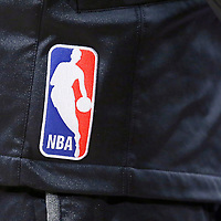 10 April 2014: Close view of the NBA logo on a player warm up vest during the Los Angeles Lakers 106-98 victory over the Minnesota Timberwolves, at the Staples Center, Los Angeles, California, USA.