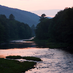The West River in Jamaica, Vermont.  Connecticut River Tributary.  After sunset.