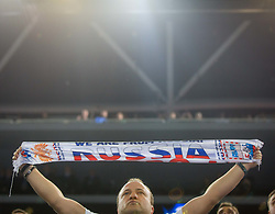 Russian fan during futsal match between Russia and Kazakhstan in Third place match of UEFA Futsal EURO 2018, on February 10, 2018 in Arena Stozice, Ljubljana, Slovenia. Photo by Ziga Zupan / Sportida