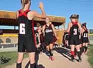 Linn-Mar third baseman Leah Beck, senior, takes the field before the start of the 4A Regional softball game between Cedar Rapids Washington and Linn-Mar at Jefferson High School at 1243 20th Street SW in Cedar Rapids on Saturday, July 10, 2010. Linn-Mar won 9-1. (Stephen Mally/Freelance)