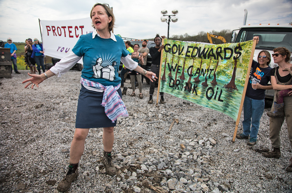 Feb. 25, 2018,  Anne Rolfes, founder of the Bucket Brigade at a Bayou Bridge Pipeline construction site where about 22 protesters stopped work at the site for two hours. Three waterprotectors were arrested durring a protest against the Bayou Bridge Pipeline in Belle Rose Louisiana.