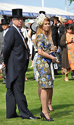 HRH The DUKE OF YORK and PRINCESS BEATRICE OF YORK at the Investec Derby at Epsom Racecourse, Epsom Downs, Surrey on 4th June 2011.