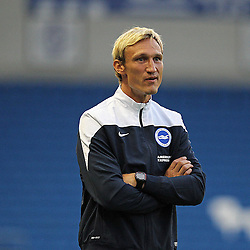 Brighton & Hove Albion's Manager Sami Hypia disputes a decision during the English Capital One Cup 1st Round between Brighton & Hove Albion FC and Cheltenham Town FC at the American Express Community Stadium, Brighton, 12th August 2014 © Phil Duncan | SportPix.org.uk