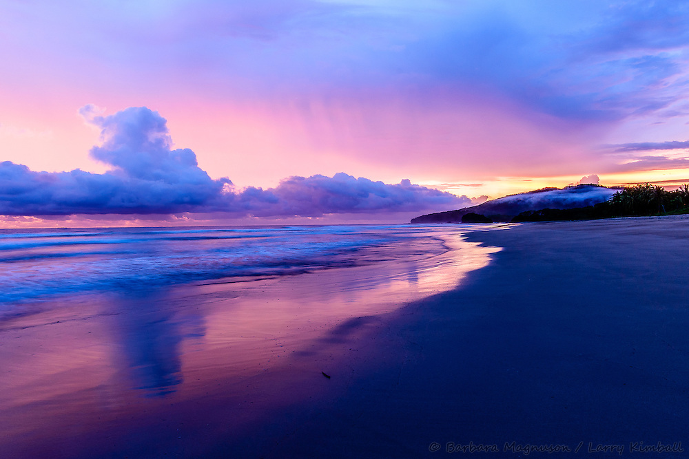 Sunset on beach Playa Grande along Las Baulas National Park, Costa Rica