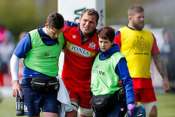 Bristol Rugby Flanker Olly Robinson is helped off after picking up an injury - Mandatory byline: Rogan Thomson/JMP - 01/05/2016 - RUGBY UNION - Goldington Road - Bedford, England - Bedford Blues v Bristol Rugby - Greene King IPA Championship Play Off Semi Final 1st Leg.