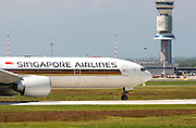 9V-SWT Singapore Airlines, Boeing 777. Photographed at Malpensa airport, Milan, Italy
