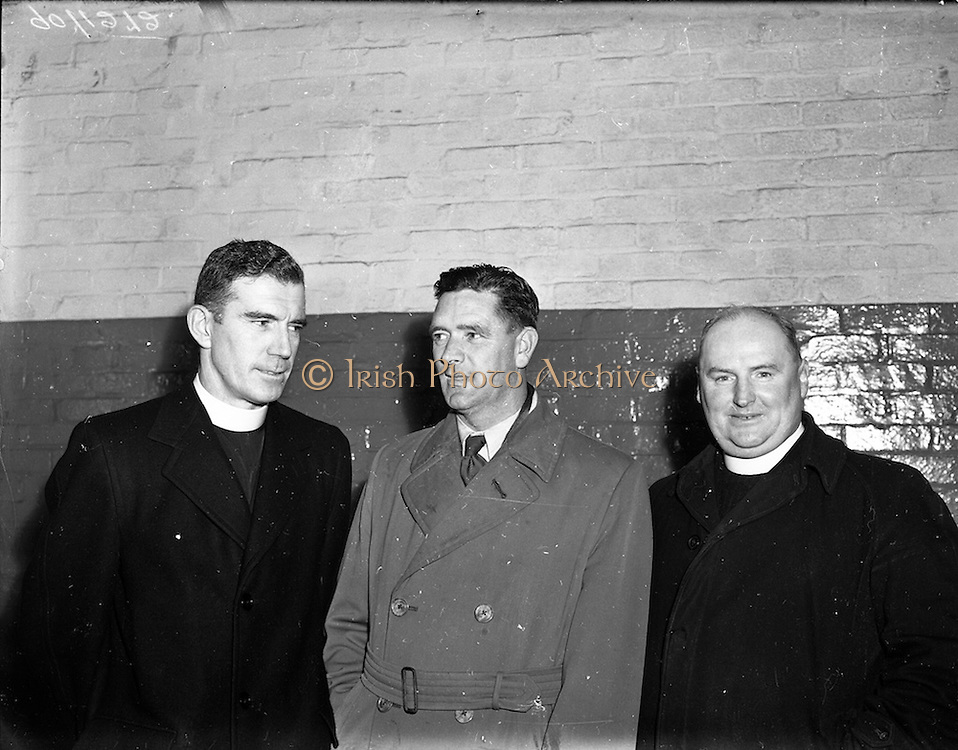 12/11/1952<br /> 11/12/1952<br /> 12 November 1952<br /> F.A.I. personalities (Waterford). (l-r): Fr. Coyle, Waterford F.A.I.; Andy Collins F.A.I. Waterford and Fr. Power Waterford F.A.I.
