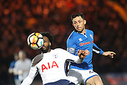 Ian Henderson challenges Danny Rose during the The FA Cup match between Rochdale and Tottenham Hotspur at Spotland, Rochdale, England on 18 February 2018. Picture by Daniel Youngs.