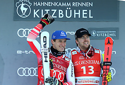 24.01.2020, Streif, Kitzbühel, AUT, FIS Weltcup Ski Alpin, SuperG, Herren, Sieger Präsentation, im Bild v.l. Matthias Mayer (AUT, 2. Platz), Aleksander Aamodt Kilde (NOR, 2. Platz) // f.l. second placed Matthias Mayer of Austria, second placed Aleksander Aamodt Kilde of Norway during the winner presentation for the men's SuperG of FIS Ski Alpine World Cup at the Streif in Kitzbühel, Austria on 2020/01/24. EXPA Pictures © 2020, PhotoCredit: EXPA/ SM<br /> <br /> *****ATTENTION - OUT of GER*****
