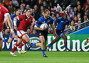 France centre Wesley Fofana scores France's first try during the Rugby World Cup 2015 Pool D match (22) between France and Canada at Stadium MK, Milton Keynes, England on 1 October 2015. Photo by David Charbit.
