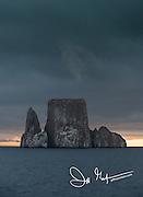 Dark skys over Kicker Rock (Leon Dormido) part of the Galapagos Islands of Ecuador.