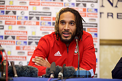 TIRANA, ALBANIA - Monday, November 19, 2018: Wales' captain Ashley Williams during a press conference at the Tirana International Hotel ahead of the International Friendly match between Albania and Wales. (Pic by David Rawcliffe/Propaganda)