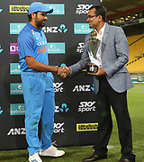 India's captain Rohit Sharma is handed the trophy for the series win during the Fifth ODI of the 2019 ANZ International ODI Series. Blackcaps v India at Westpac Stadium, Wellington, Sunday 3rd February 2019. © Copyright Photo: Grant Down / www.photosport.nz