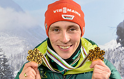 24.02.2019, Tirolberg TV Studio, Seefeld, AUT, FIS Weltmeisterschaften Ski Nordisch, Seefeld 2019, Tirolberg TV Studio, im Bild Eric Frenzel (GER) mit seinen beiden Goldmedaillen // Eric Frenzel of Germany with his two gold medals during the FIS Nordic Ski World Championships 2019 at the Tirolberg TV Studio in Seefeld, Austria on 2019/02/24. EXPA Pictures © 2019, PhotoCredit: EXPA/ Erich Spiess