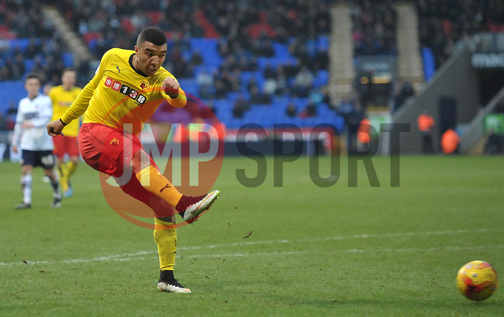 Watford's Troy Deeney scores the winning goal - Photo mandatory by-line: Richard Martin-Roberts/JMP - Mobile: 07966 386802 - 14/02/2014 - SPORT - Football - Bolton - Macron Stadium - Bolton Wanderers v Watford - Sky Bet Championship