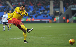 Watford's Troy Deeney scores the winning goal - Photo mandatory by-line: Richard Martin-Roberts/JMP - Mobile: 07966 386802 - 14/02/2014 - SPORT - Football - Bolton - Macron Stadium - Bolton Wanderers v Watford - Sky Bet Championship