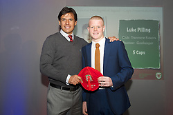 CARDIFF, WALES - Saturday, May 11, 2013: Luke Pilling is presented with his U16's cap by Wales national team manager Chris Coleman at the FAW Trust Under-16's cap presentation. (Pic by David Rawcliffe/Propaganda)