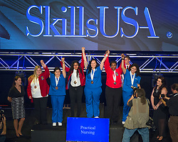 The 2017 SkillsUSA National Leadership and Skills Conference Competition Medalists were announced Friday, June 23, 2017 at Freedom Hall in Louisville. <br /> <br /> Practical Nursing<br /> <br /> Sindy Zuniga<br />   High School Victor Valley High School<br />   Gold Victorville, CA<br /> Practical NursingDiana Munoz<br />   High School Suncoast Technical College<br />   Silver Sarasota, FL<br /> Practical NursingNaomi Stephens<br />   High School Mid-East Career & Technology Centers-Zanesville<br />   Bronze Zanesville, OH<br /> Practical NursingAmy Schwartz<br />   College Downey Adult School<br />   Gold Downey, CA<br /> Practical NursingCrystal Wright<br />   College Georgia Piedmont Technical College<br />   Silver Clarkston, GA<br /> Practical NursingLucy Frausto<br />   College Wilkes Community College<br />   Bronze Wilkesboro, NC