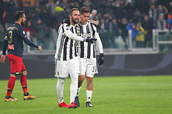 December 20, 2017 - Turin, Piedmont, Italy - Gonzalo Higuain (Juventus FC, left) celebrates after scoring with Paulo Dybala (right) during the Italian Cup football match between Juventus FC and Geona CFC at Allianz Stadium on 20 December, 2017 in Turin, Italy. ..Juventus won 2-0 over Genoa. (Credit Image: © Massimiliano Ferraro/NurPhoto via ZUMA Press)