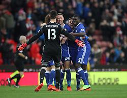 Chelsea's players celebrate at the final whistle - Mandatory by-line: Jack Phillips/JMP - 18/03/2017 - FOOTBALL - Bet365 Stadium - Stoke-on-Trent, England - Stoke City v Chelsea - Premier League
